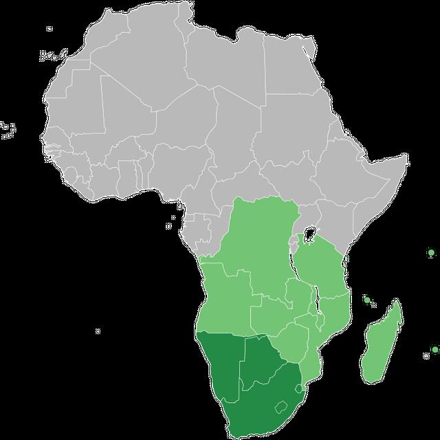 Map of Africa indicating SADC (light green) and SADC+SACU (dark green) members.